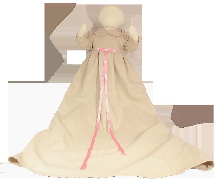 Minimundus dopklänning oblekt naturtyg med rosa band