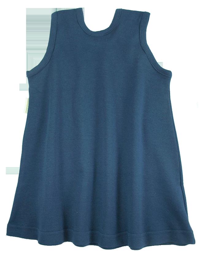 Tim&Teja hängselklänning 100% ekologisk bomull ekologiskt färgad marinblå
