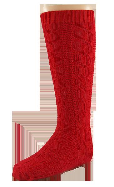 Minimundus flätstickad knästrumpa barn merinoull röd