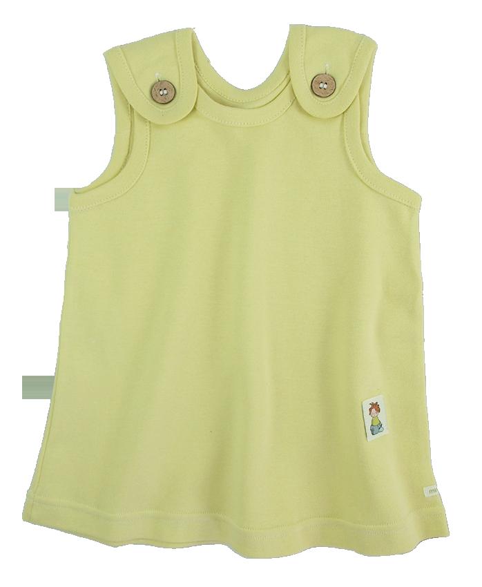 Tim&Teja hängselklänning 100% ekologisk bomull ekologiskt färgad gul