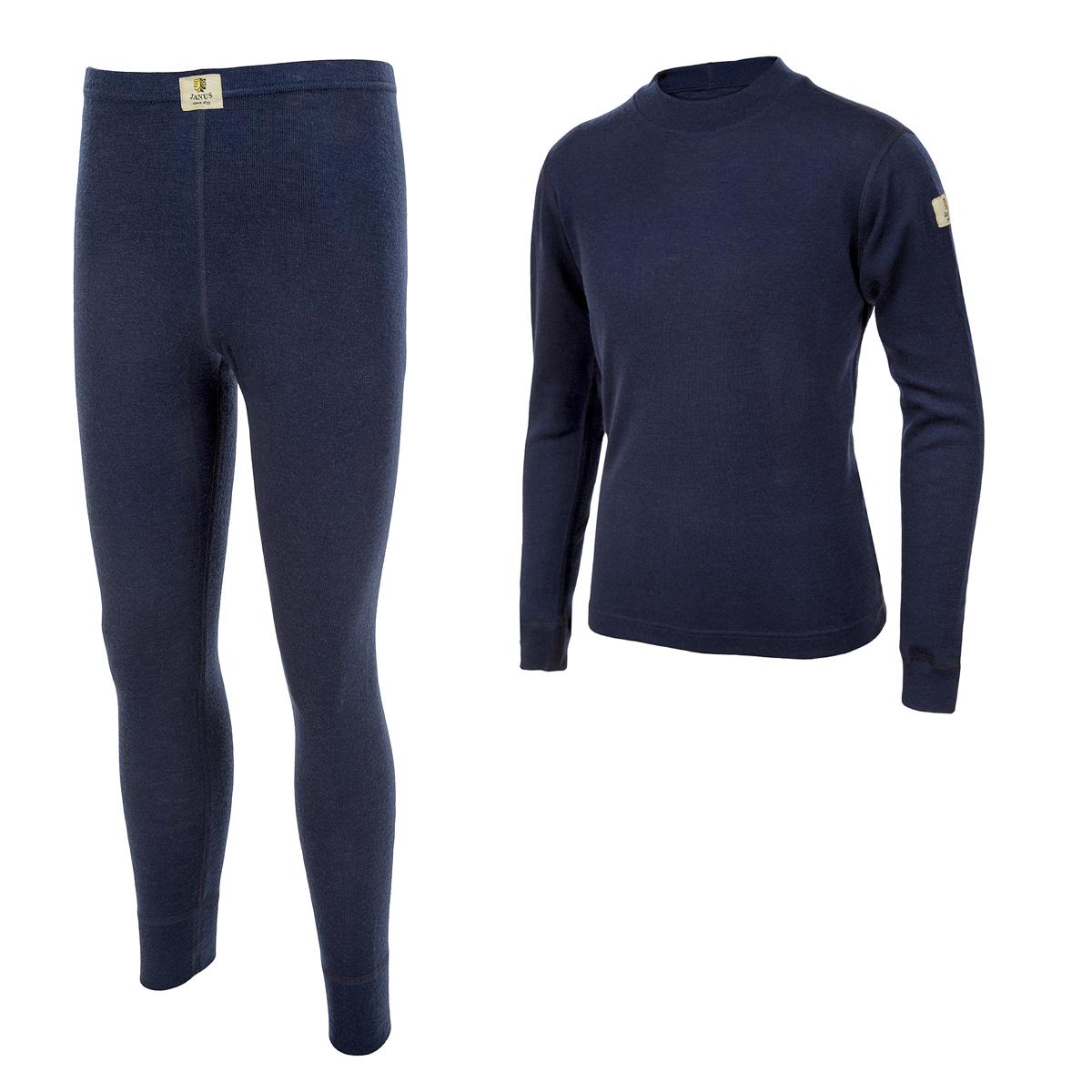 Janus DesignWool junior underställ 100% merinoull långkalsonger och tröja med lång ärm marinblå