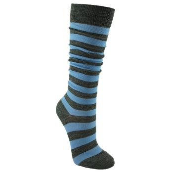 Minimundus tunna knästrumpor merinoull rand grå ljusblå