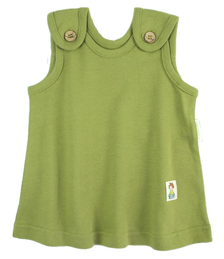 Tim&Teja babyklänning 100% ekologisk bomull ekologiskt färgad grön