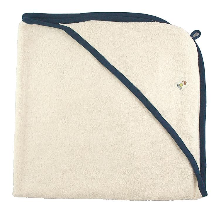 Minimundus badlakan med huva 100% ekologisk bomullsfrotté 75x75 cm marinblå kant