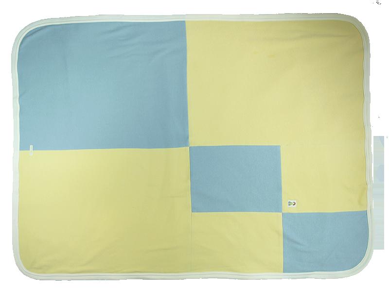 Minimundus babyfilt 100% ekologisk bomull ekologiskt färgad gul blå