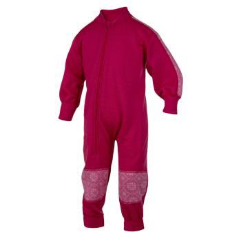 Janus barn jumpsuit 100% merinoull hallonröd