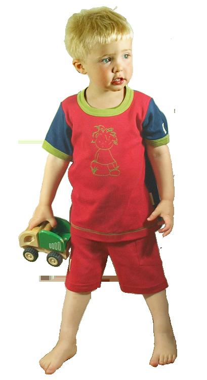 Tim&Teja shorts och t-shirt med tryck 100% ekologisk bomull ekologiskt färgad röd