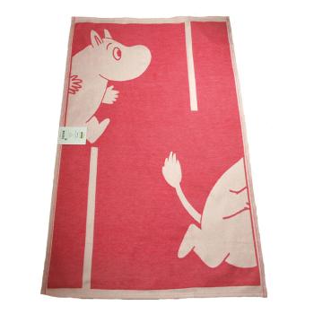Babyfilt Mumin 100% ekologisk bomull Linneväveriet Ekelund röd