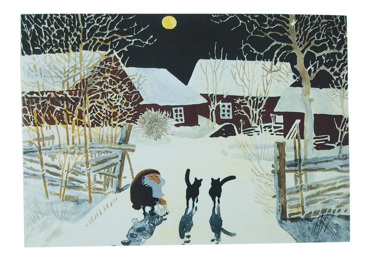 Julkort Tomten i månsken Harald Wiberg vykort 15x10,5 cm