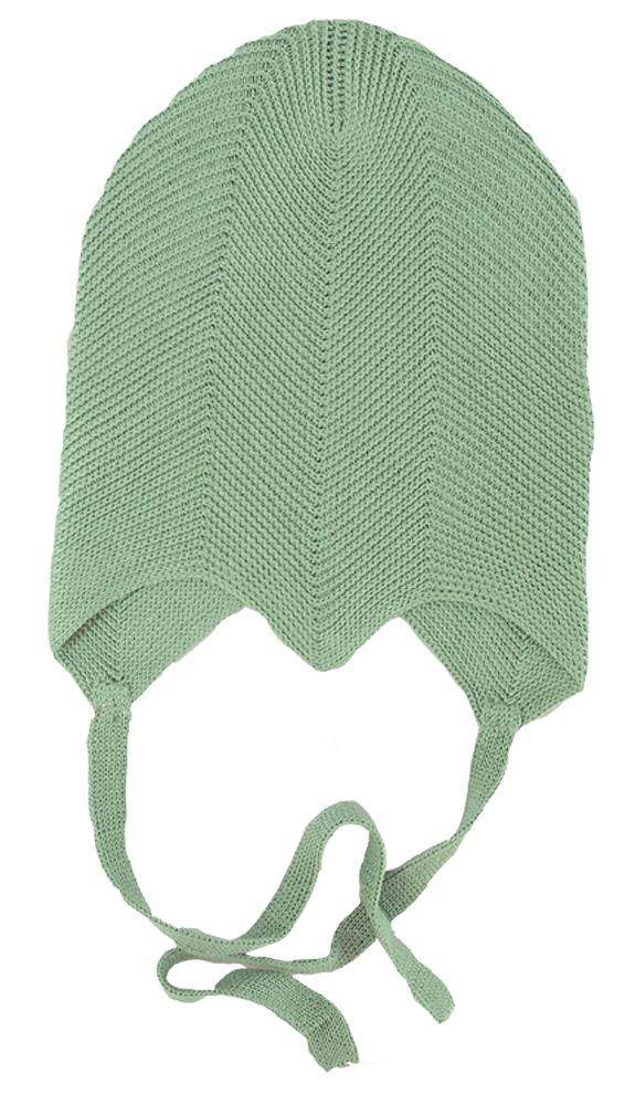 Solius mössa av stickad silke grön prematur