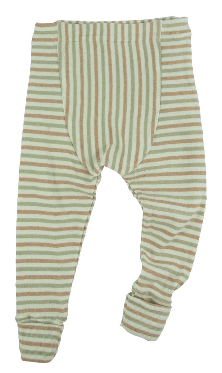 Minimundus babybyxor med fotgömma muddfot 100% ekologisk bomull colorganic färgväxande rand brun grön naturvit närbild