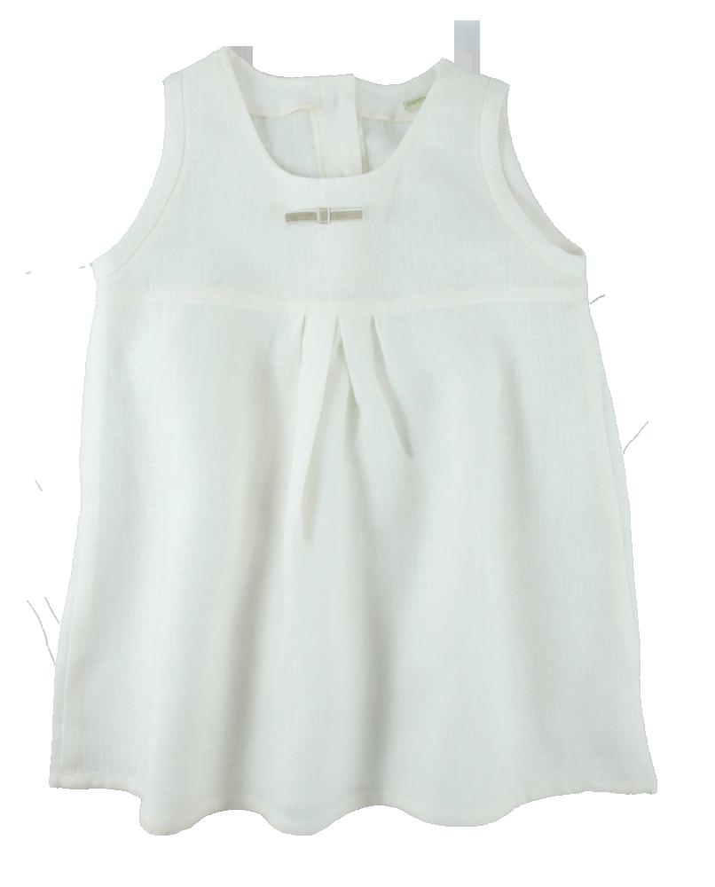 Ärmlös klänning av 100% ekologiskt lin vit