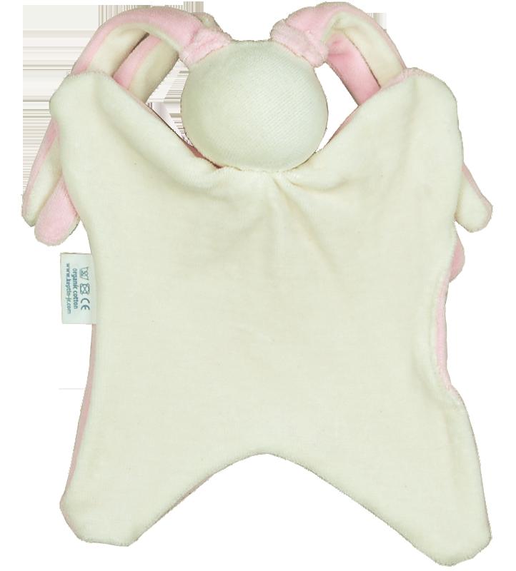 Snuttefilt docka rosa 100% ekologisk bomull stoppad med ull rosa Keptin-jr