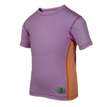 Janus LightWool barn t-shirt 100% merinoull lavendellila/orange