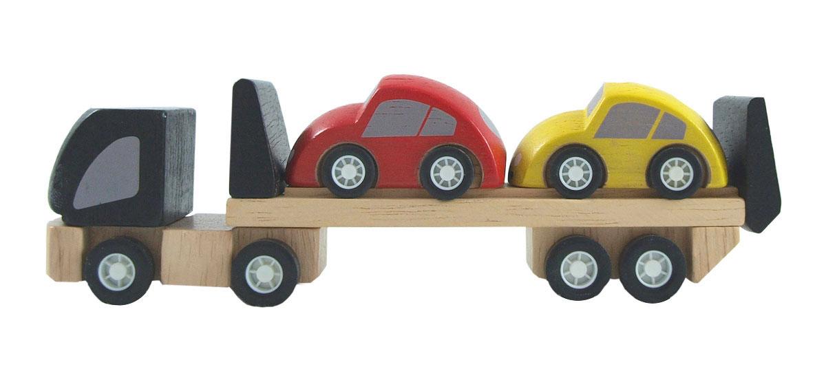 Biltransport av gummiträ lastbil och två småbilar PlanToys