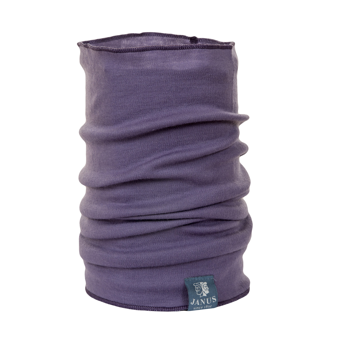 Tubhalsduk, neckwarmer Janus 100% merinoull lila