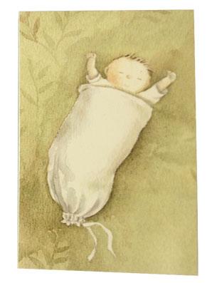 Gratulationskort dubbelt med kuvert bebis 9,5x6,5 cmi sovpåse
