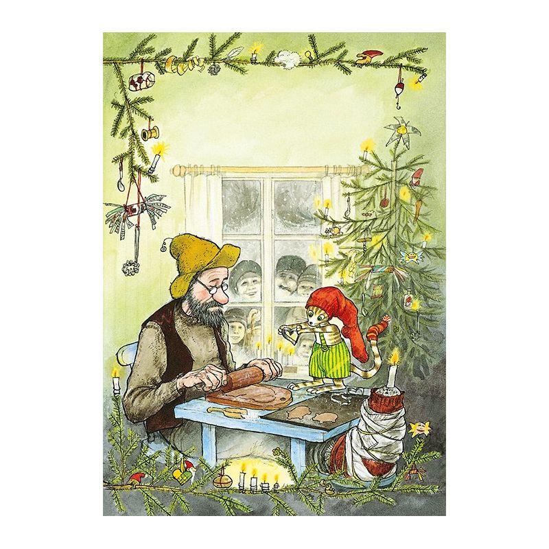 Julkort/vykort Sven Nordvist Pettson och Findus jul 15x10 cm