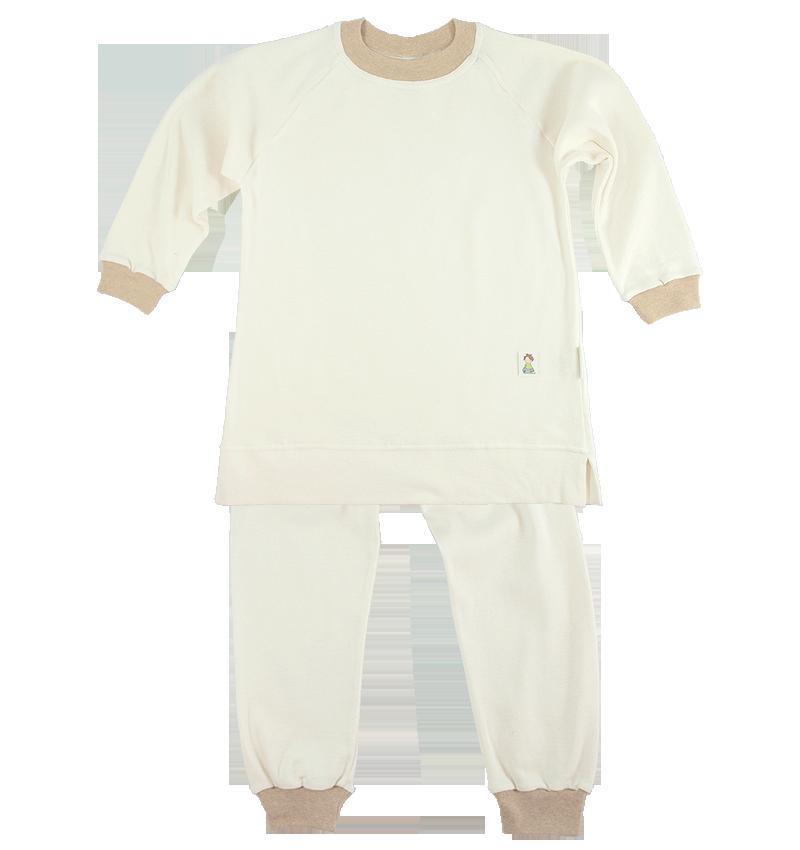 Minimundus 2-delad pyjamas naturvit ekobomull