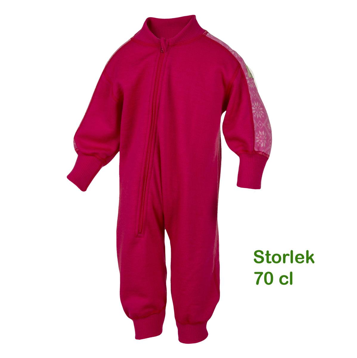 Janus barn jumpsuit overall 100% merinoull hallonröd
