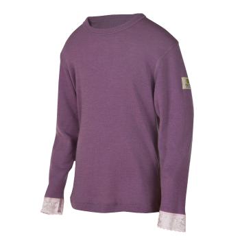 Janus ull med spets tröja 100% merinoull lila
