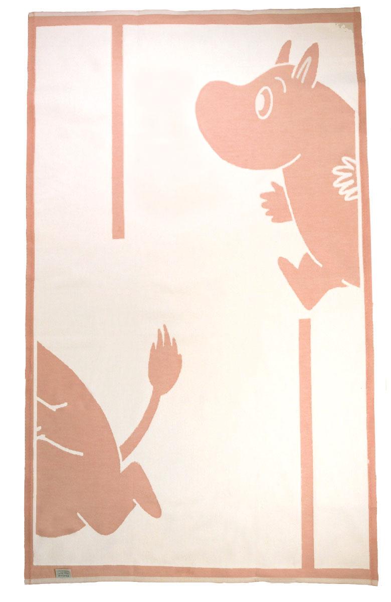 Babyfilt Mumin 100% ekologisk bomull Linneväveriet Ekelund rosa