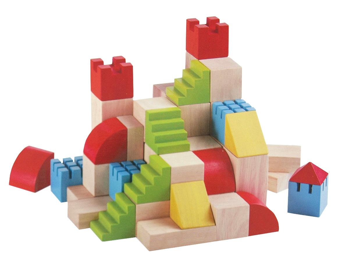 Creative Blocks Borg av gummiträ 46 delar PlanToys