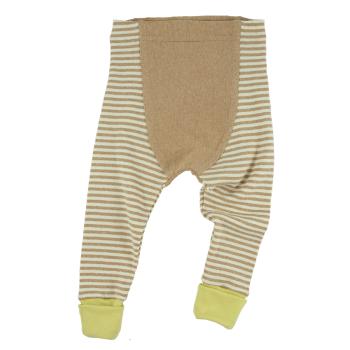 Minimundus babybyxor med fotgömma muddfot 100% ekologisk Coloured by Nature brun natur samt gul ekologisk bomull