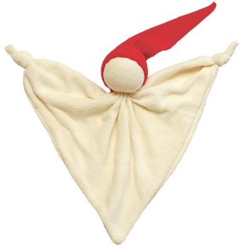 Snuttespöke snuttefilt 100% ekologisk bomull huvudet stoppat med ull röd luva Keptin-Jr