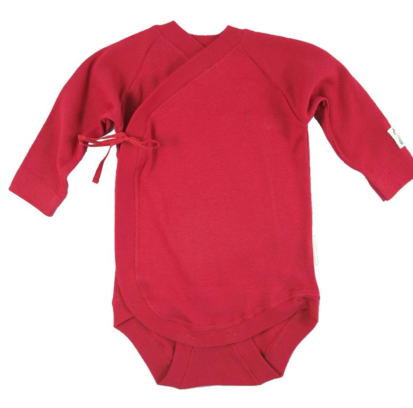 Minimundus omlottbody med knyt 100% ekologisk bomull ekologiskt färgad röd
