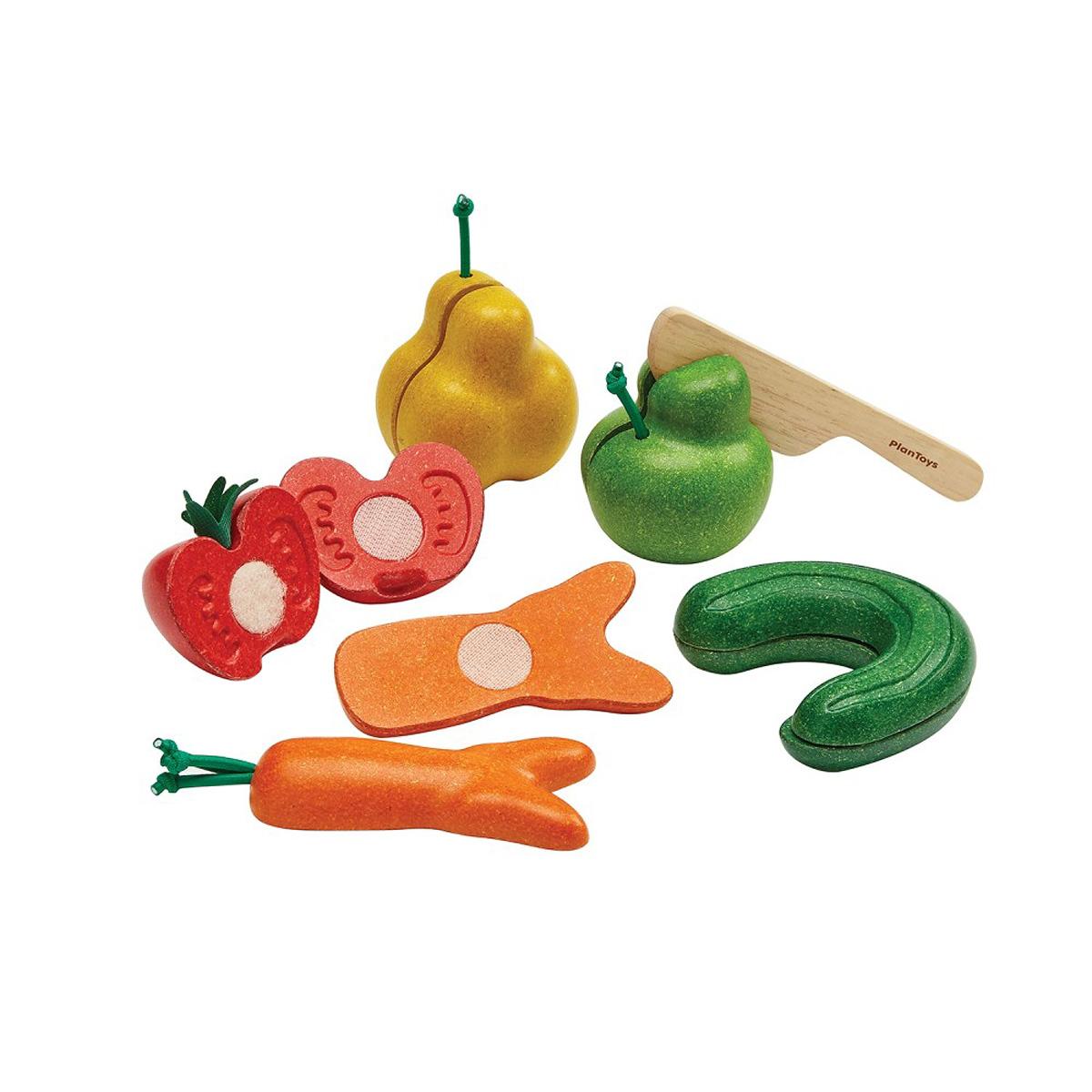 PlanToys knasiga grönsaker och frukter med kniv