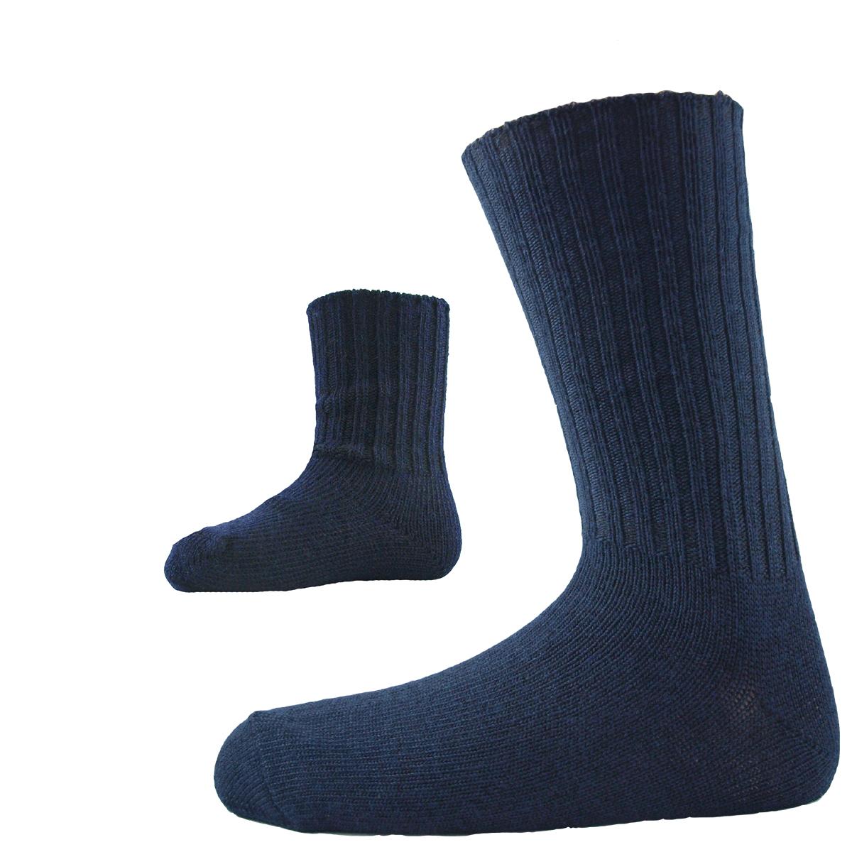 ullstrumpor stor och liten marinblå merinoull minimundus