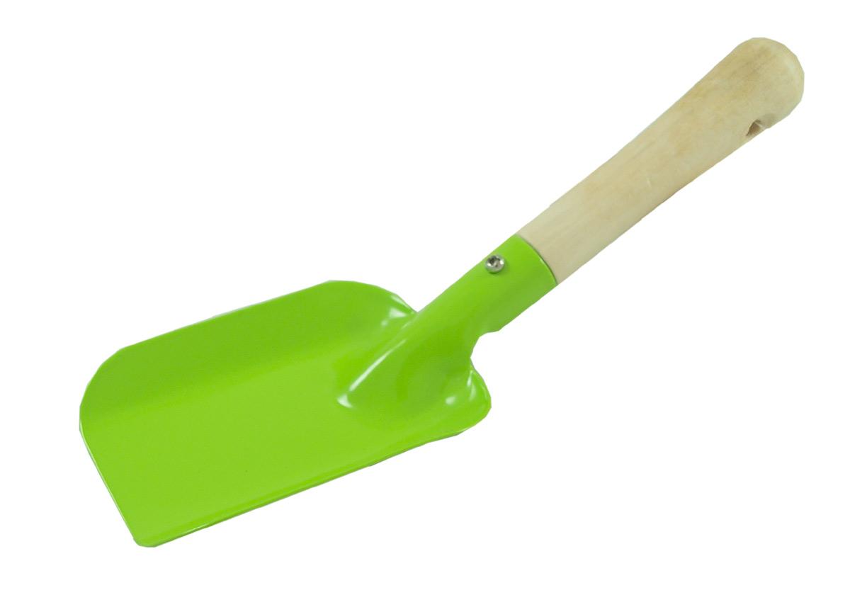 Spade av plåt med träskaft grön GOKI