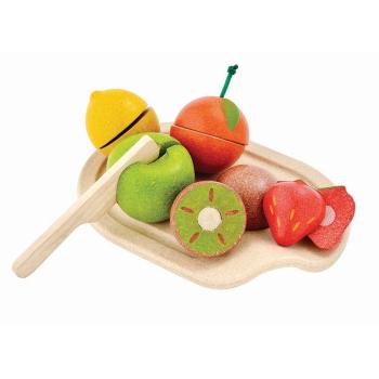 Frukter på bricka gummiträ PlanWood 5 st + bricka + kniv PlanToys