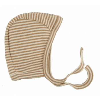 Minimundus mössa med knyt 100% ekologisk Coloured by Nature färgväxande bomull rand brun natur