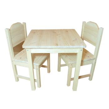 Barnmöbelgrupp Alma bord och två stolar i obehandlad furu trämöbel hållbart och ekologiskt svensktillverkad