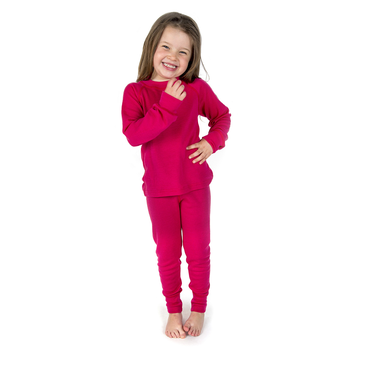 Janus barn ullunderställ 100% merinoull långkalsonger och tröja med lång ärm hallonröd