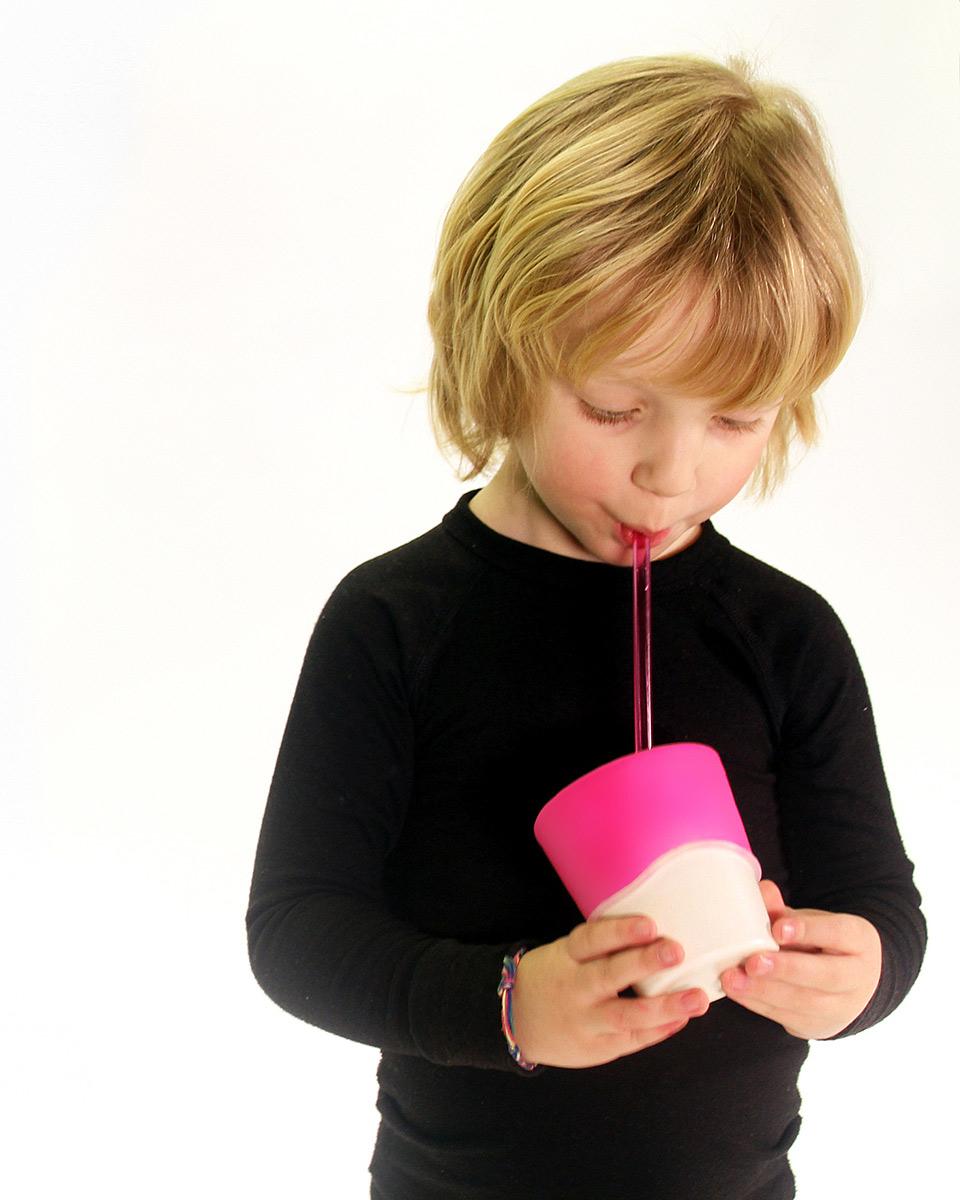 SipSnap KID läckagesäkert lock av silikon för sugrör sandbox rosa