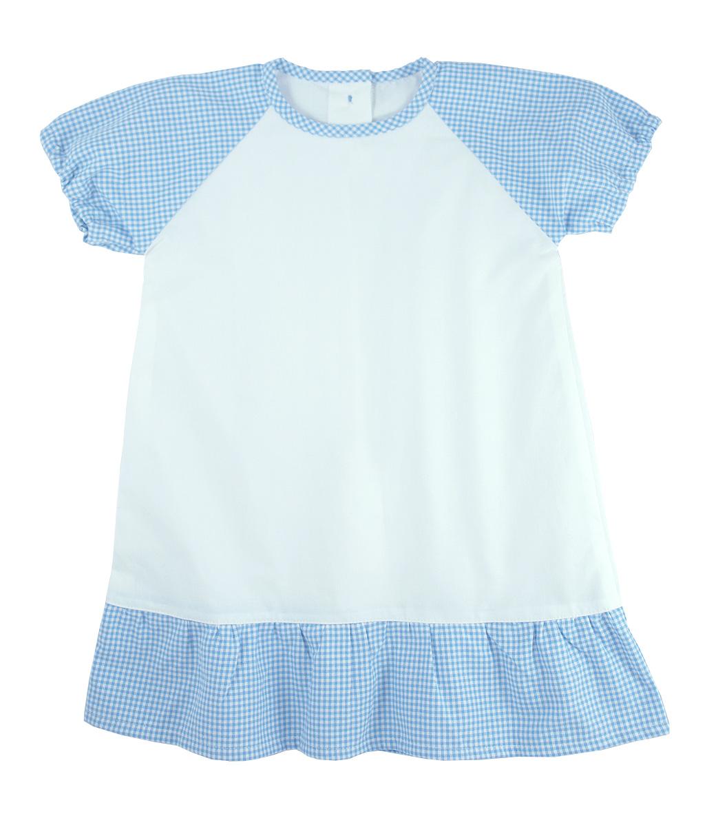 Minimundus klänning av 100% ekologisk bomull vit och blårutig