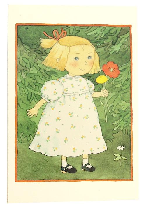 Gratulationskort dubbelt med kuvert Ellens blomma 9,5x6,5 cm