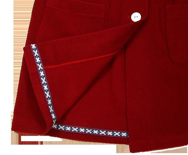 Minimundus kappa av 100% ullfleece merinoull röd