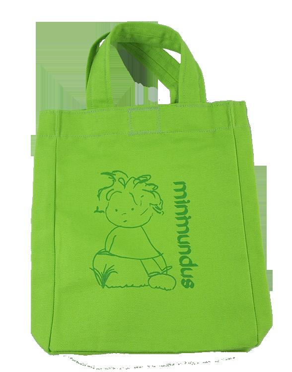 Minimundus tygkasse barn med tryck och kardborre 100% ekologisk bomull grön