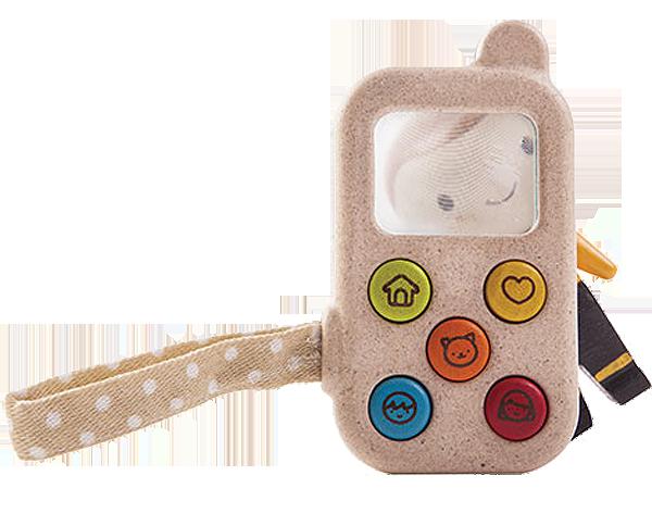 Mobiltelefon med förstoringsglas gummiträ PlanWood PlanToys