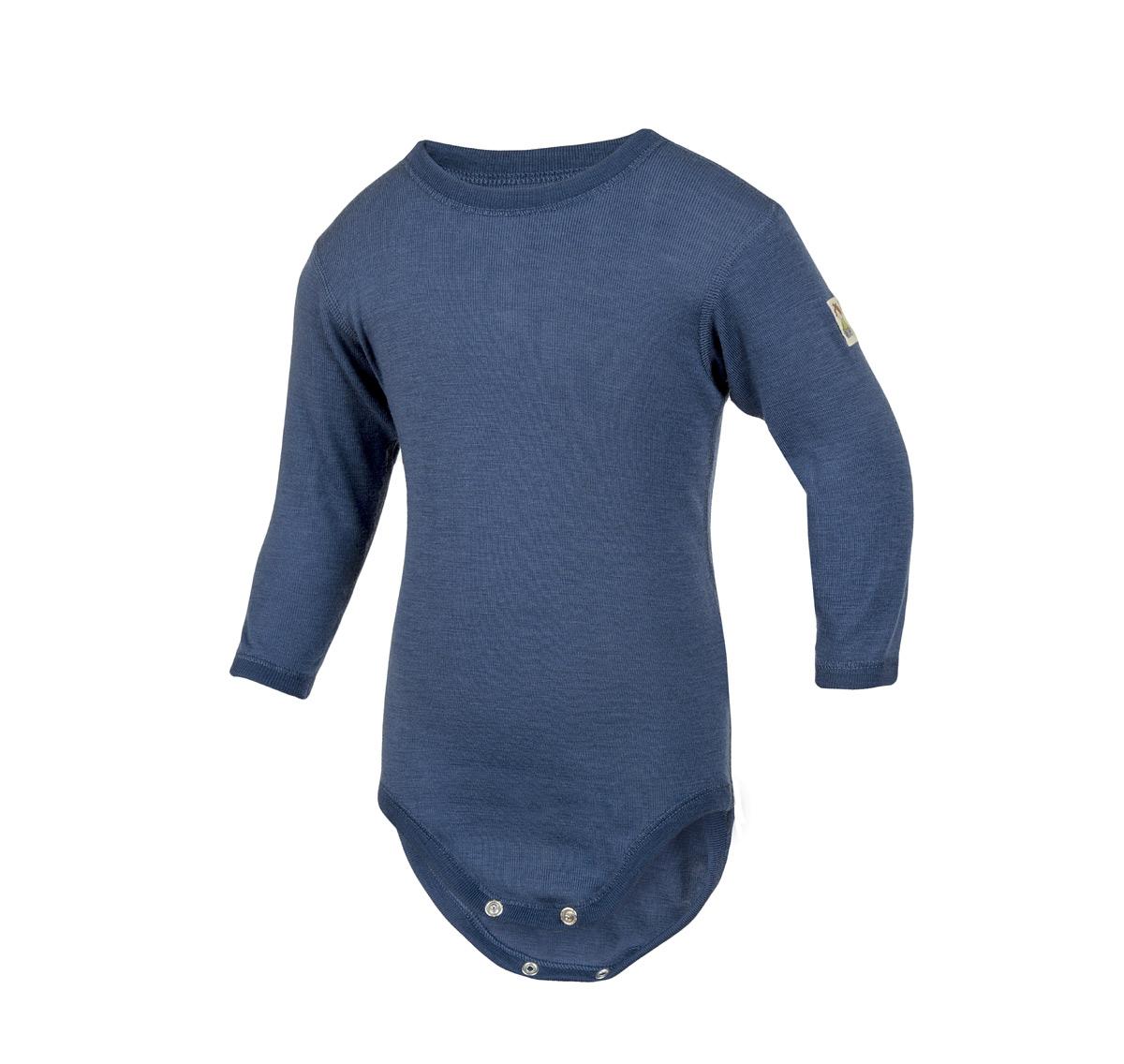 Minimundus body 100% ekologisk merinoull blå