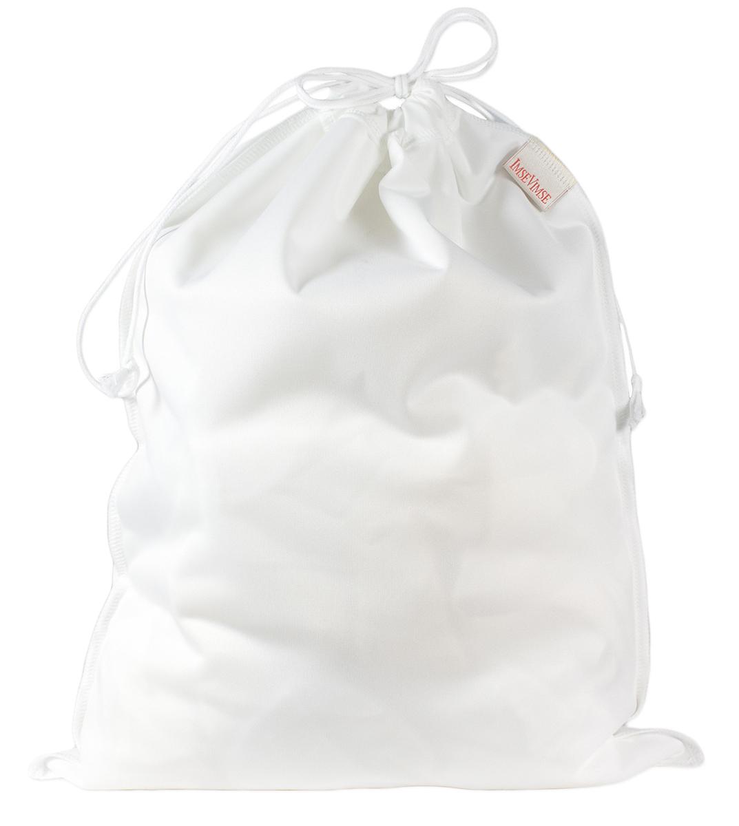 Wet bag blöjpåse tvättpåse med dragsko PUL-påse vit ImseVimse