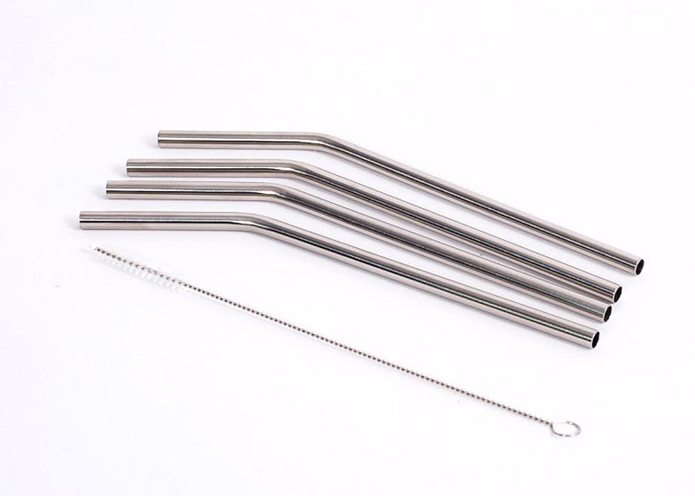 Sugrör av rostfritt stål med borste för rengöring 4 st
