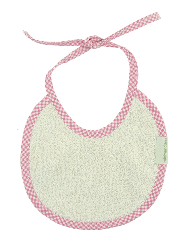 Haklapp dregglis 100% ekologisk bomullsfrotté rosarutig kant