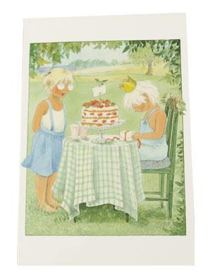 Gratulationskort dubbelt med kuvert Majas alfabet jordgubbe 9,5x6,5 cm Maja sjunger för Pelle