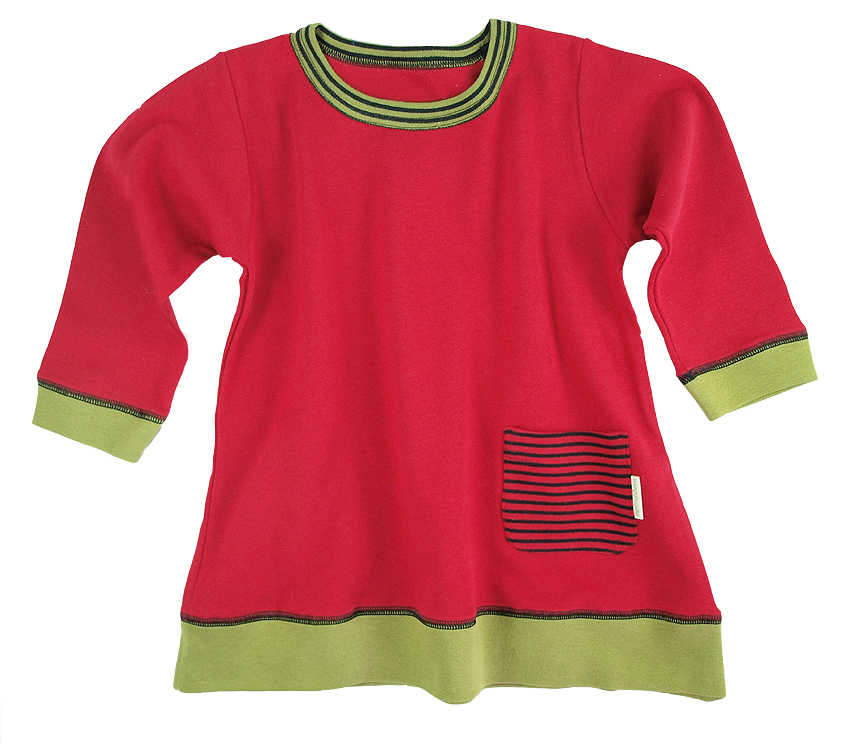 Tim&Teja tunika klänning 100% ekologisk bomull ekologiskt färgad röd