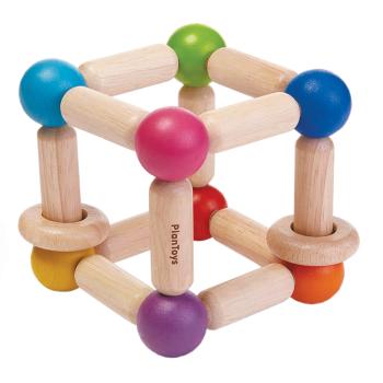 Babyleksak skallra Square av gummiträ PlanToys